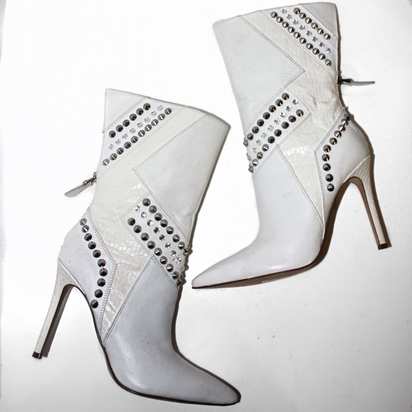 Guess Shoes - Guess White Leather Embellished Gator Skin Boots